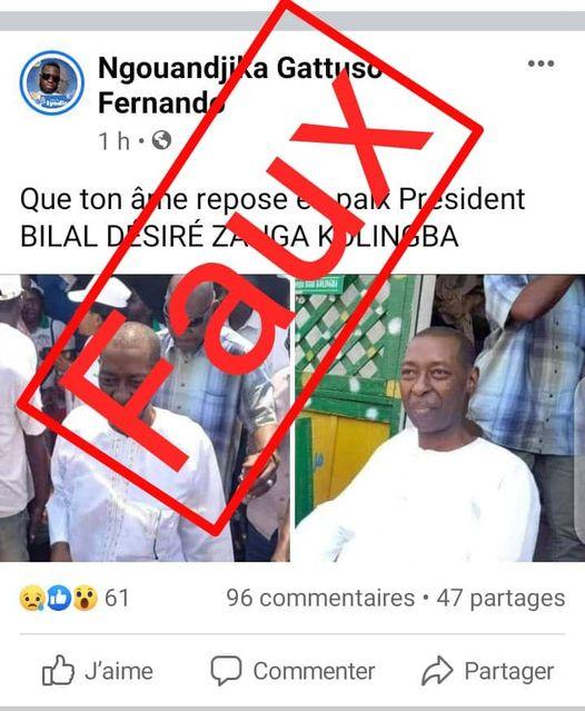 Faux! Désiré Zanga Bilal Kolingba n'est pas mort