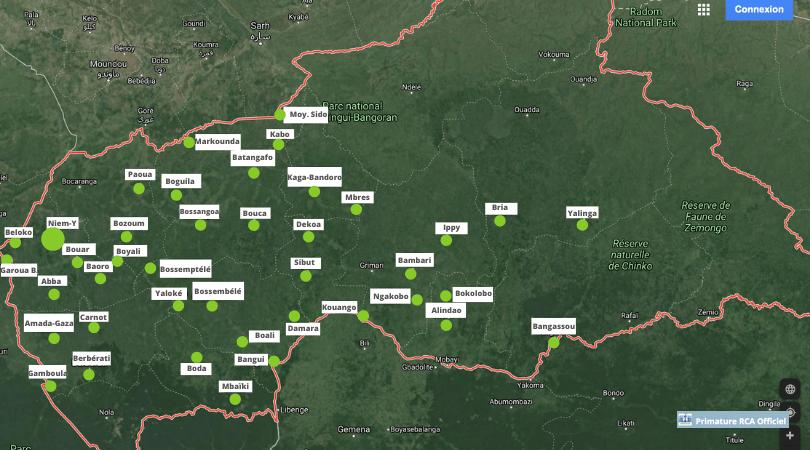 Centrafrique : Cartographie des villes libérées par les FACA